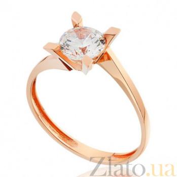 Золотое кольцо с цирконием Классический стиль EDM--КД0464
