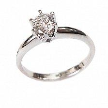 Золотое кольцо в белом цвете с бриллиантом Дарсия