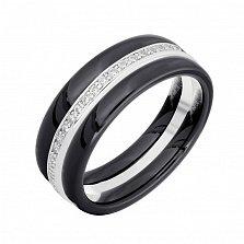 Серебряное наборное кольцо Ронолда с керамикой и фианитами