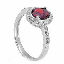 Серебряное кольцо Таисия с красным цирконием