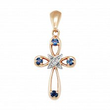 Золотой крестик Обет с сапфирами и бриллиантом