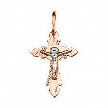 Золотой крестик Свет жизни с насечкой