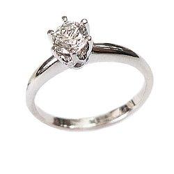 Золотое кольцо в белом цвете с бриллиантом 000021485