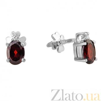 Серебряные серьги пуссеты с гранатом и фианитами Забвение 000032443