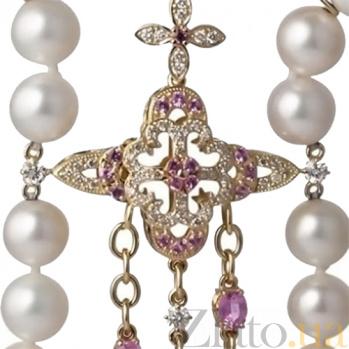 Жемчужное колье с бриллиантами и розовыми сапфирами Флориэна 000030448