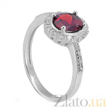 Серебряное кольцо Таисия с красным цирконием Таисия к/кр