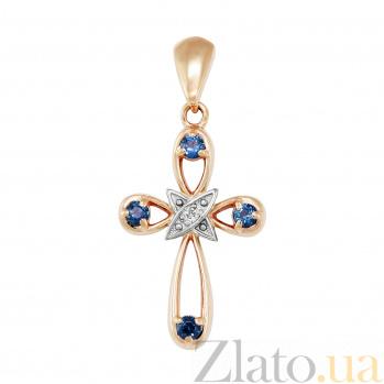 Золотой крестик Обет в комбинированном цвете с сапфирами и бриллиантом VLA--30071