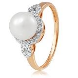 Золотое кольцо с жемчугом и фианитами Герцогиня