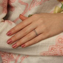 Серебряное кольцо Сердечная дорожка