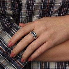 Серебряное кольцо Биркан с сапфирами и фианитами