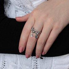 Серебряное кольцо Алания с подвесками в виде сердца и якоря