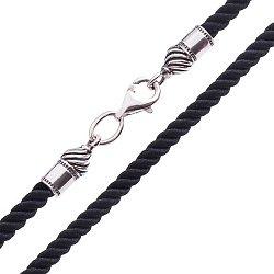 Шелковый шнурок с серебряной застежкой, 3мм 000042677