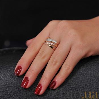 Золотое кольцо Золотые плетения с фианитами EDM--КД020Р
