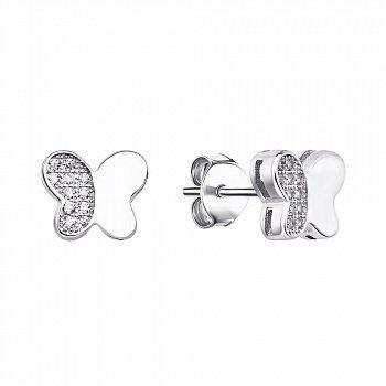 Серебряные серьги-пуссеты с фианитами 000133844