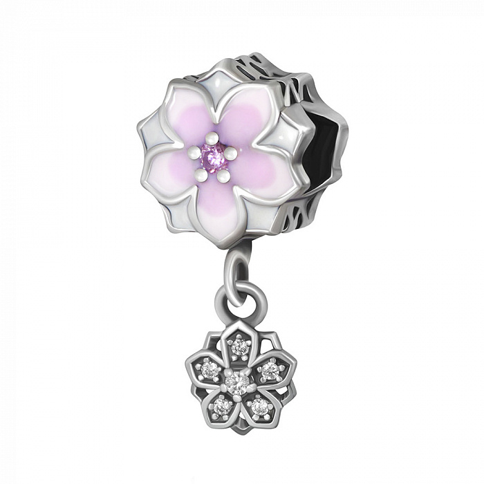 Серебряный шарм Дуэт магнолий с розовой эмалью, розовым и белыми фианитами 000078615