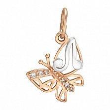 Золотой подвес Мотылек - буква Л с фианитами