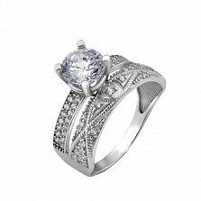 Серебряное кольцо Дабл с двойной узорной шинкой и фианитами
