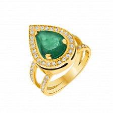 Золотое кольцо Улыбка Востока с изумрудом и бриллиантами