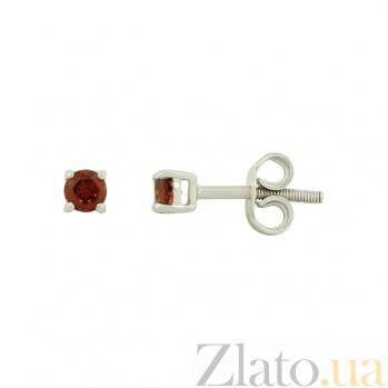 Серебряные серьги с гранатами Нона 3С071-0081
