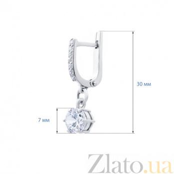Серебряные серьги с цирконом Ирма AQA--72258б