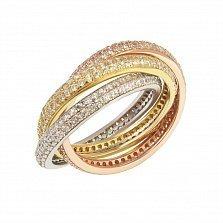 Серебряное тройное кольцо Амели в белом, красном и желтом цветах с фианитами и позолотой