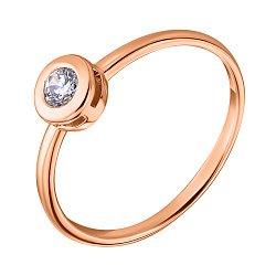 Кольцо в красном золоте с фианитом 000041055