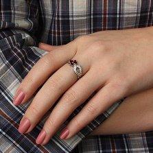 Серебряное кольцо Весенний росток с рубинами и цирконием
