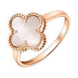 Кольцо из красного золота Клевер с перламутром 000126500