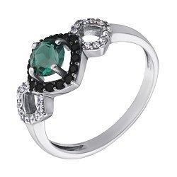 Серебряное кольцо Агнесса с зеленым кварцем и фианитами