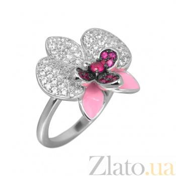 Серебряное кольцо Орхидея с розовой эмалью, белыми и розовыми фианитами 000081535