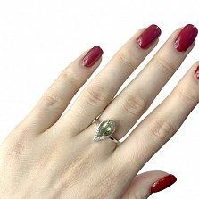 Серебряное кольцо Эрин с корундом и белыми фианитами