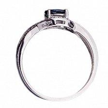 Золотое кольцо в белом цвете с сапфиром и бриллиантами Джанис