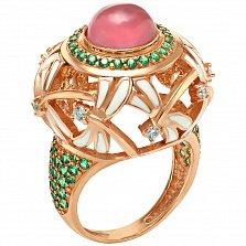 Кольцо в красном золоте Керолайн с улекситом, эмалью и фианитами