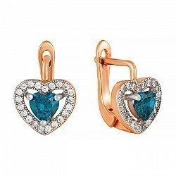 Серебряные сережки Love you с позолотой, синим и белым цирконием