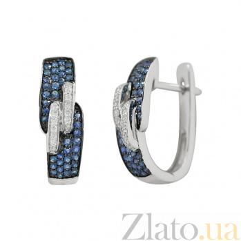 Золотые серьги с сапфирами и бриллиантами Крепкая связь 000026627