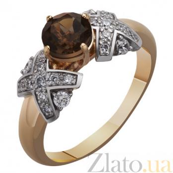 Золотое кольцо с раухтопазом и цирконием Ирина AUR--31705 04
