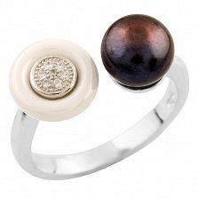 Серебряное кольцо Алена с жемчугом, белой керамикой и фианитами