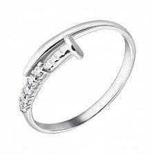 Серебряное кольцо Тонкий гвоздик с фианитами в стиле Картье