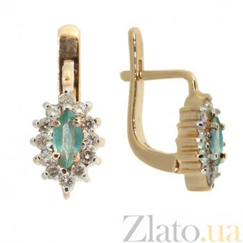Золотые серьги с бриллиантами и изумрудами Ялта ZMX--BLE-167_K