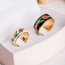 Эксклюзивное обручальное кольцо Беззаботное счастье с белыми бриллиантами и эмалью