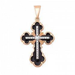 Крестик в красном золоте с черной эмалью и фианитами 000106235