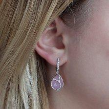 Серебряные серьги-подвески Аллегория с розовым кварцем и цирконием