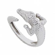 Серебряное кольцо Крокодил
