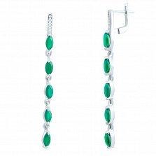 Серебряные серьги-подвески Адония с зеленым агатом