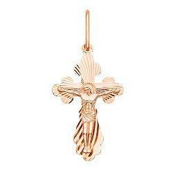 Крестик из красного золота с алмазной гранью 000130767