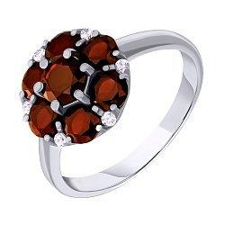 Серебряное кольцо с гранатами и фианитами 000063431