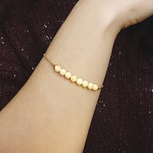 Серебряный браслет Лунная дорожка в позолоте с центральной частью из лимонного янтаря