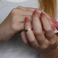 Серебряное кольцо на фалангу Амурные дела с золотой накладкой