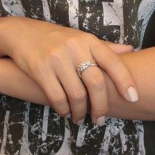 Серебряное кольцо В объятиях ангела с разомкнутой шинкой, золотой накладкой и фианитами