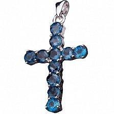 Серебряный крестик Синева с топазами лондон